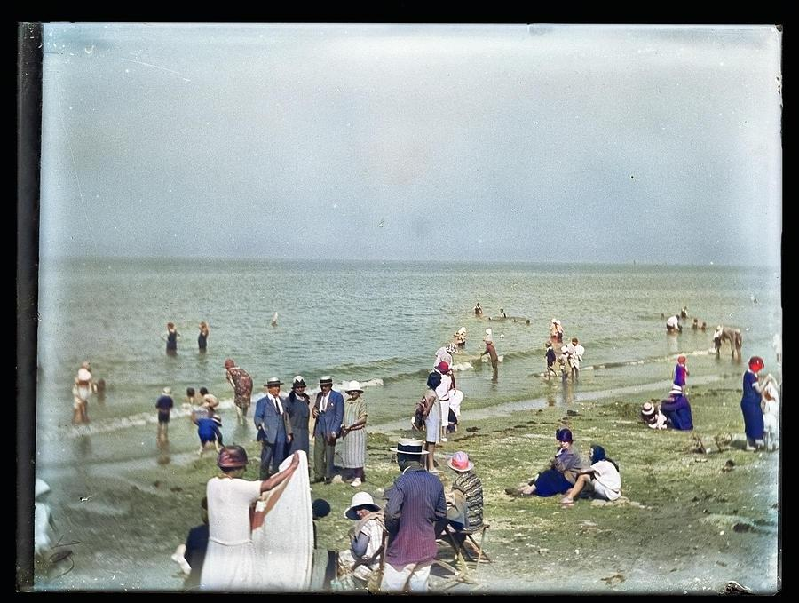 Bathing time, Taken in France, Circa 1900s-1910s from Silver Dry Gelatin Negative colorized by Ahmet by Ahmet Asar