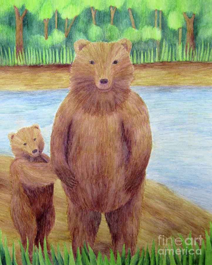 Yellow Drawing - Bears by The Unfolding Butterfly
