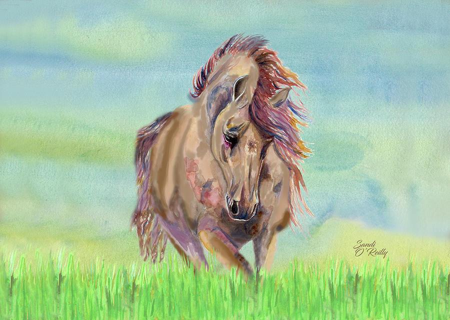 Beautiful Horse Running Free 2 by Sandi OReilly