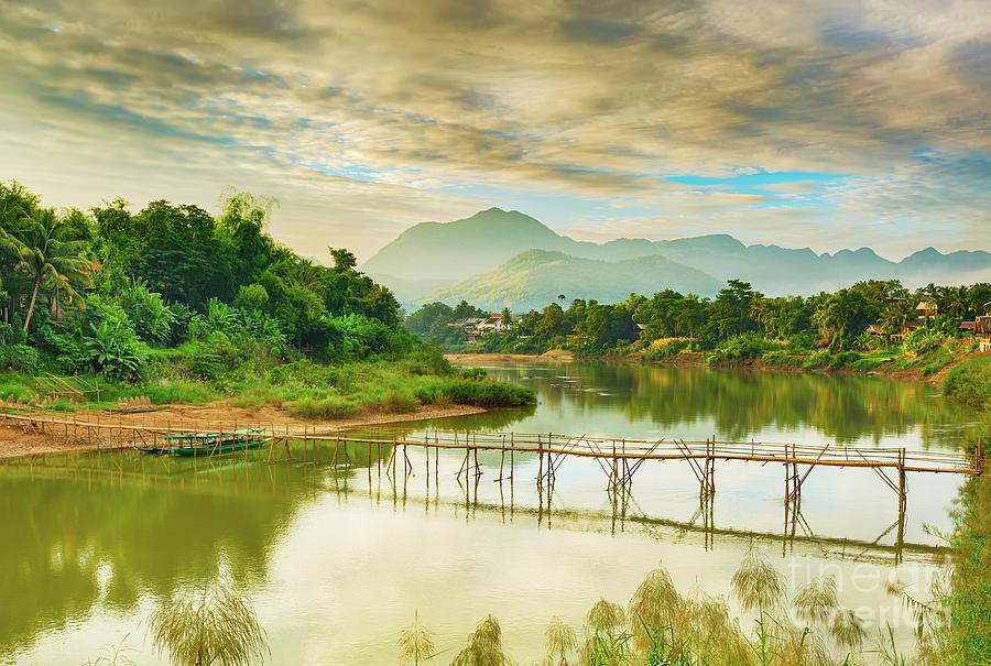 Beautiful View Of A Bamboo Bridge. Laos Landscape. Photograph