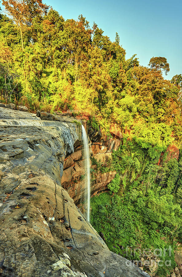 Beautiful Waterfall Flowing From The Cliff In The Tropical Jungles Panoramic Top View Photograph