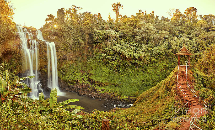 Beautiful Waterfall Hidden In The Tropical Jungles Panorama Photograph