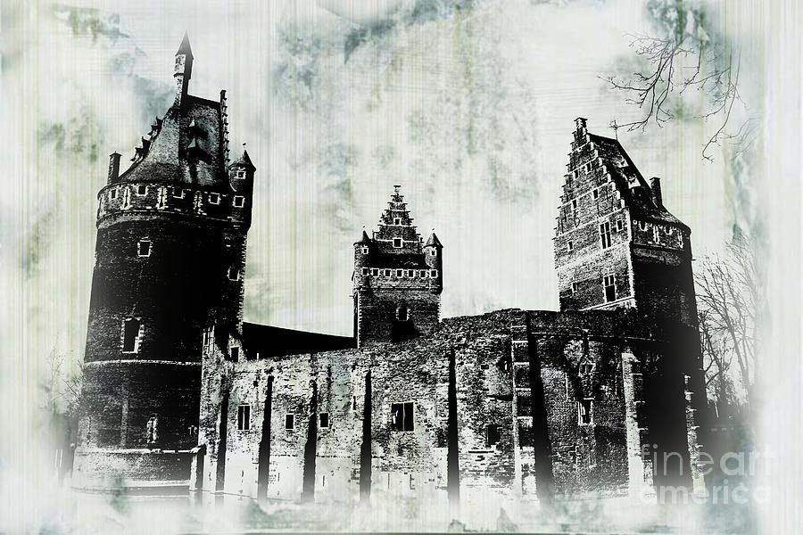 Beersel Castle in Black and White by Jurgen Huibers