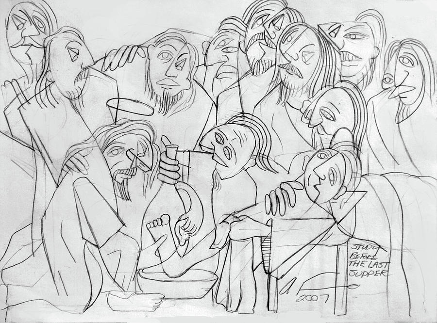 Cubism Drawing - Before The Last Supper by Anthony Falbo