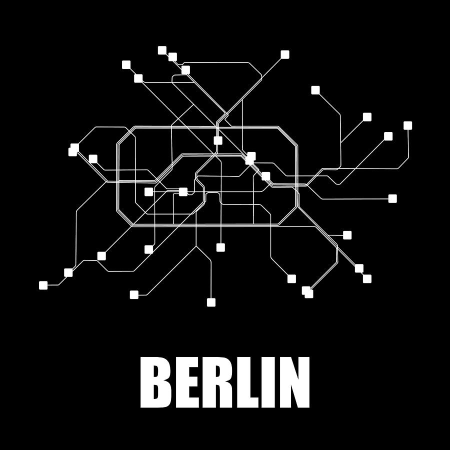 Berlin Digital Art - Berlin Black Subway Map by Naxart Studio