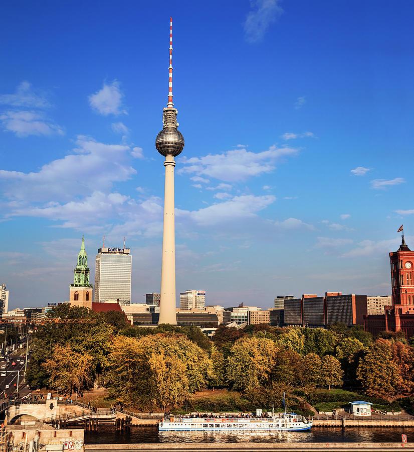 Architecture Photograph - Berlin, Germany Fernsehturm Tv Tower by Miva Stock