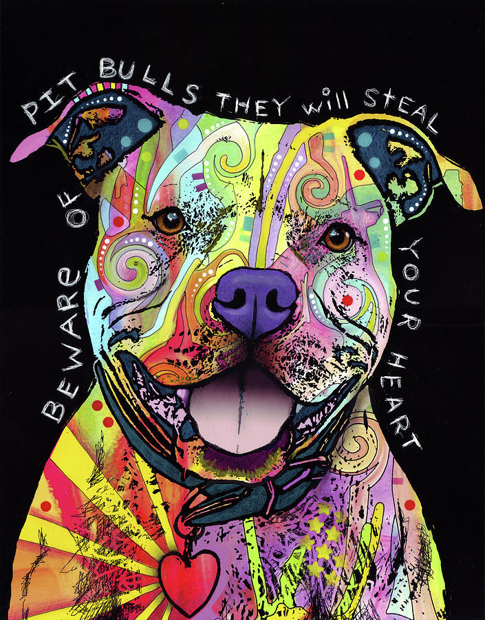Pups Mixed Media - Beware Of Pit Bulls by Dean Russo