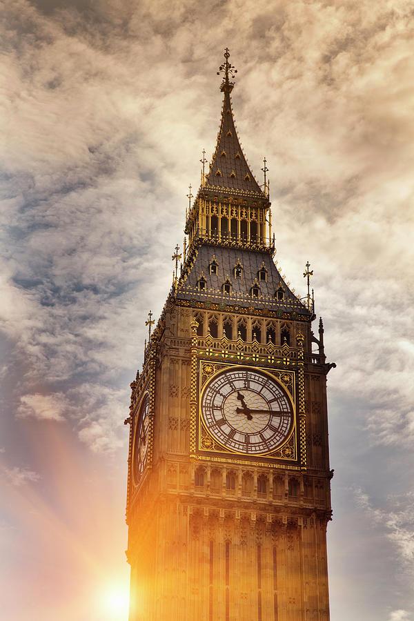 Big Ben Clock Tower In Cloudy Sky Photograph by Walter Zerla