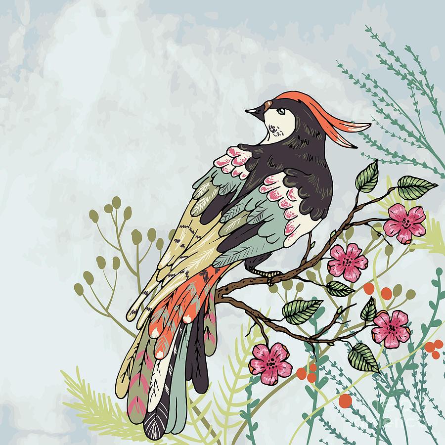 Love Digital Art - Bird On A Branch Vector Illustration 1 by Maria Sem