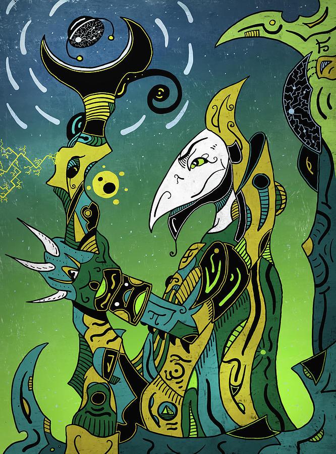 Shaman Digital Art - Birdman by Sotuland Art