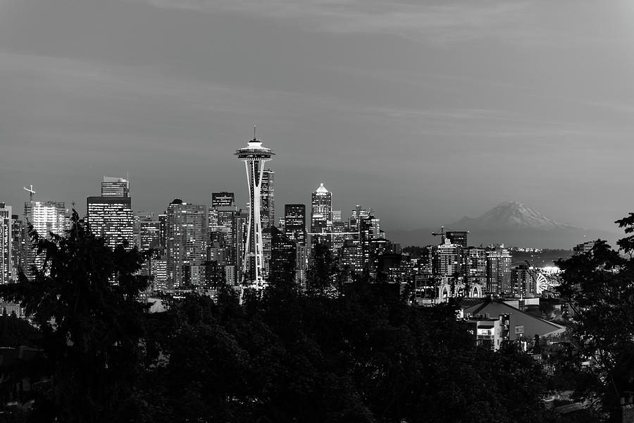Black And White Image Of The Skyline Of The City Of Seattle With The Space Needle, Other Emblematic Photograph