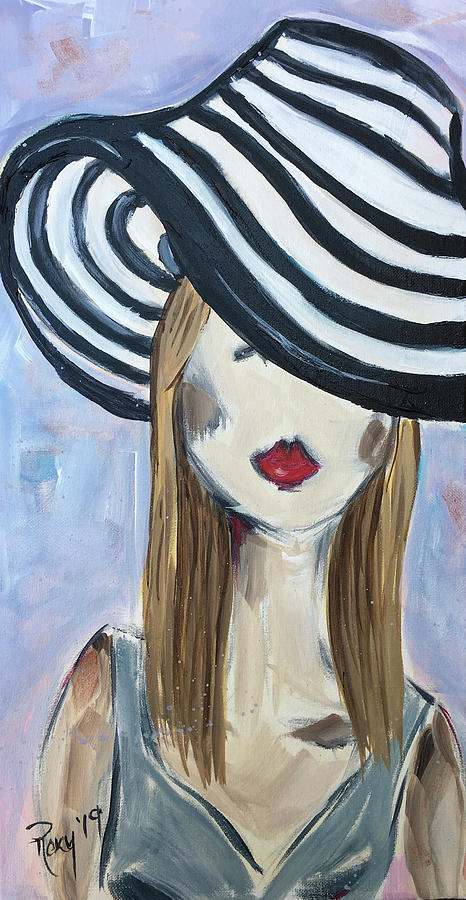Blonde Painting - Blonde in a Striped Hat by Roxy Rich