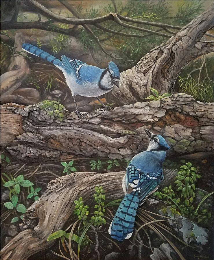 Blue Painting - Blue Jay Stand Off by Gary Lovelace