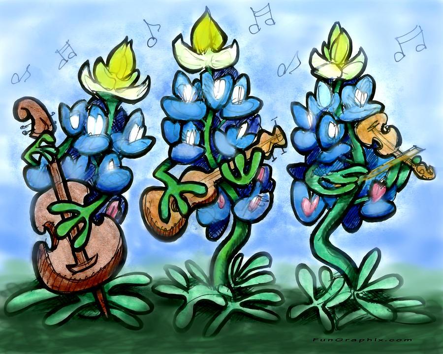 Blues Bonnets Digital Art