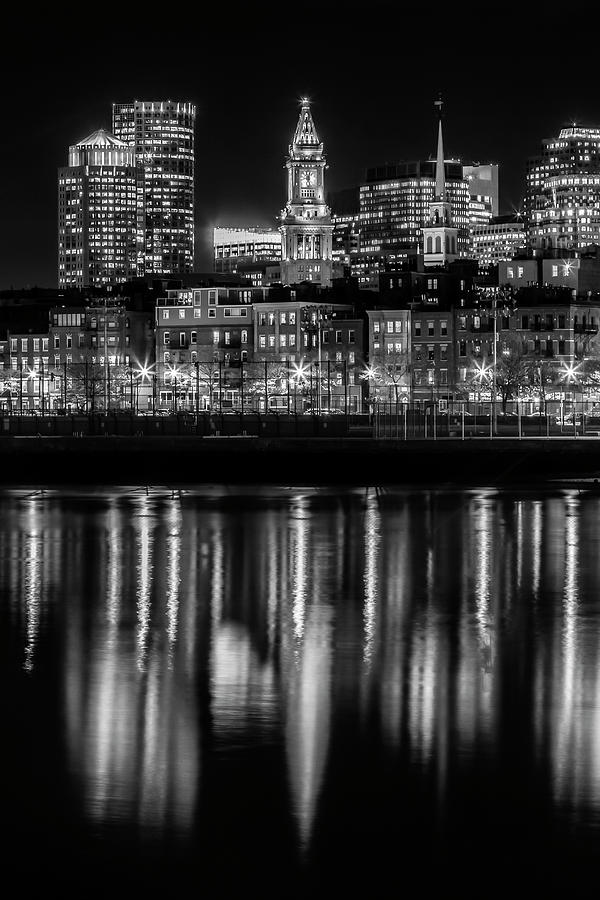 Boston Photograph - Boston Evening Skyline Of North End And Financial District - Monochrome by Melanie Viola
