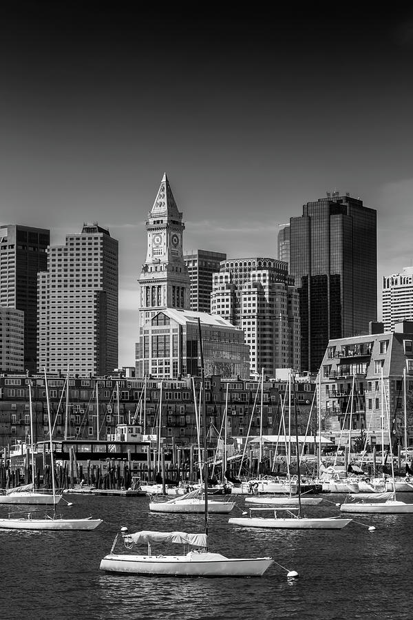 Boston Photograph - Boston Skyline North End And Financial District - Monochrome by Melanie Viola