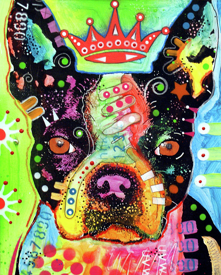 Puppy Mixed Media - Boston Terrier Crowned by Dean Russo