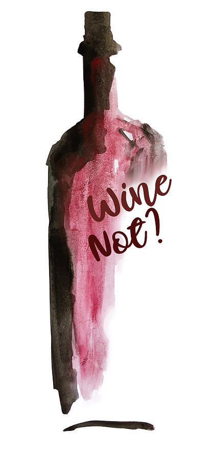 Bottle Of Wine Watercolor Painting By Mahsawatercolor Mahsa Artist