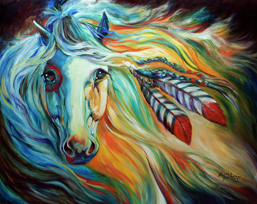 Horses Painting - Breaking Dawn Indian War Horse by Marcia Baldwin