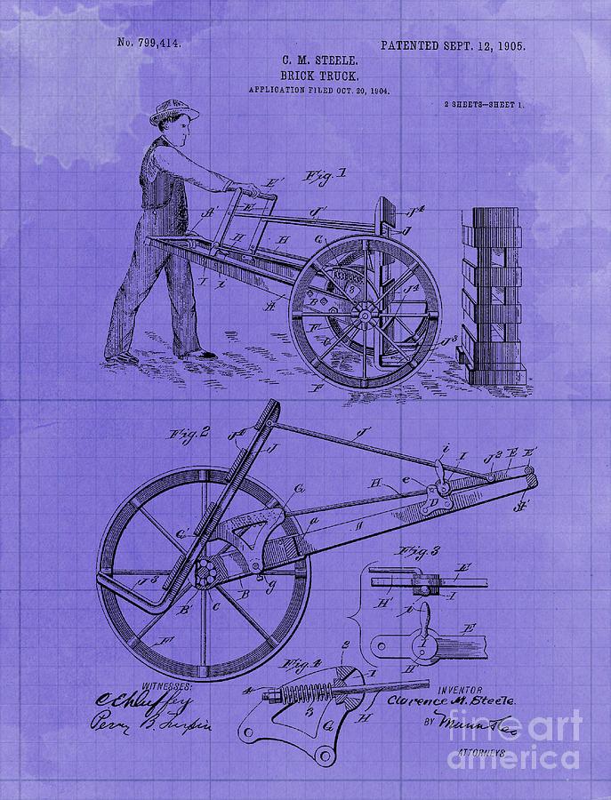 Brick Truck Patent Year 1905 Drawing