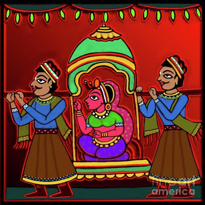 Bride in a palanquin by Latha Gokuldas Panicker