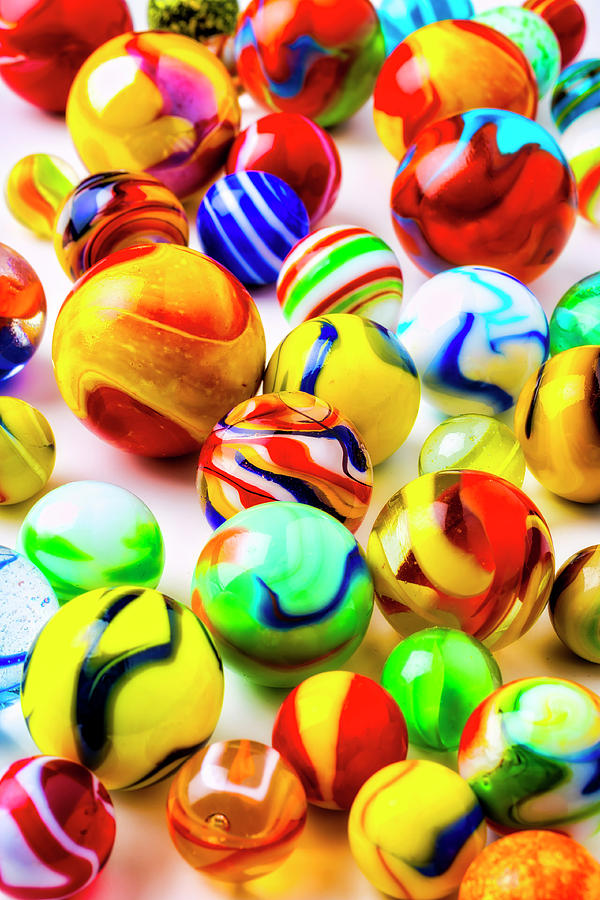 Pile Photograph - Bright Colorful Marbles by Garry Gay