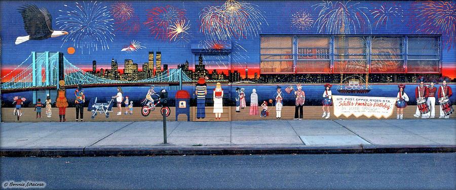 Brooklyn Bridge Fireworks by Bonnie Siracusa