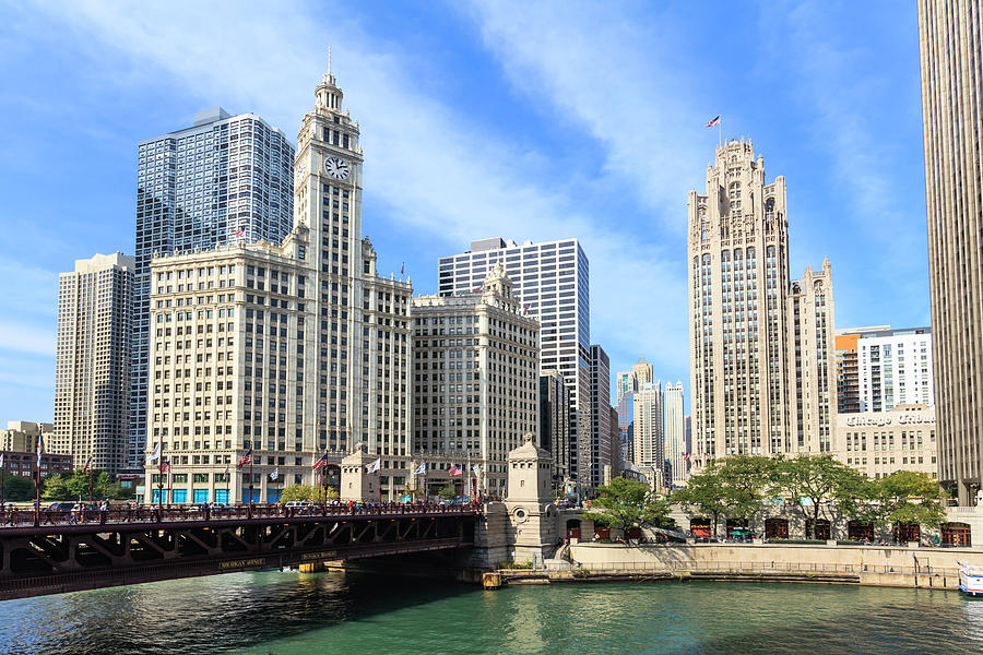 Buildings By The Chicago River, Chicago Photograph by Fraser Hall