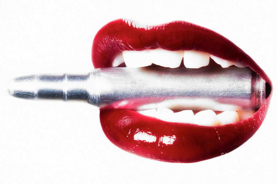 Female Photograph - Bullet Lips by Erik Brede