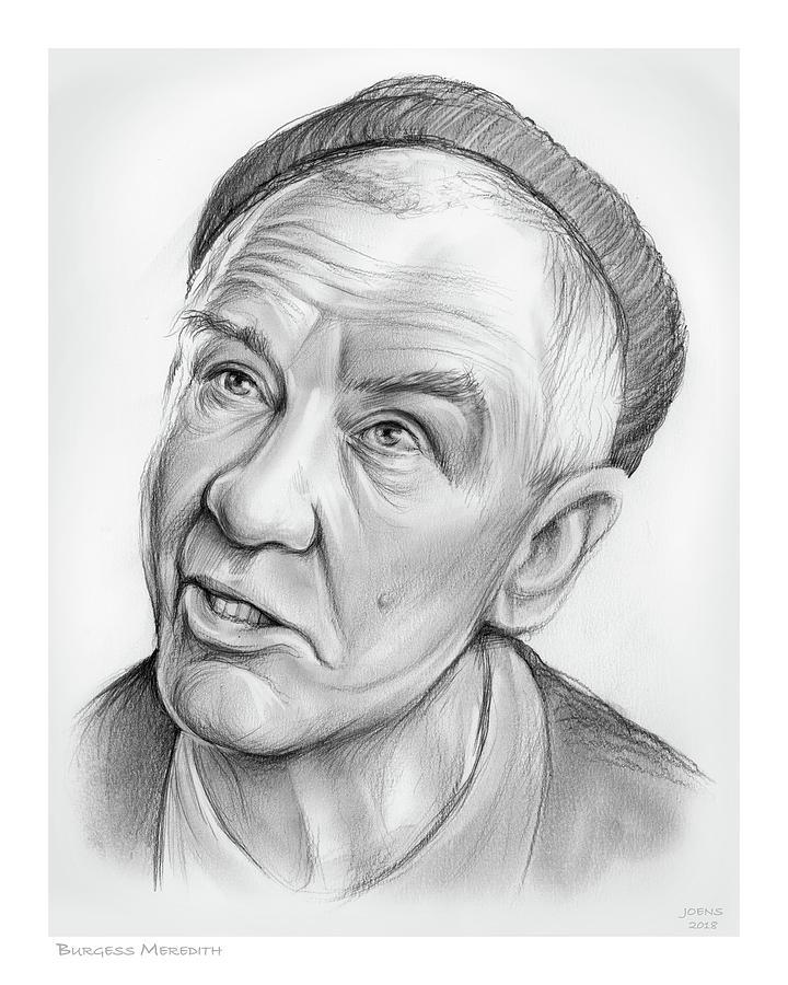 Burgess Meredith Drawing - Burgess Meredith by Greg Joens