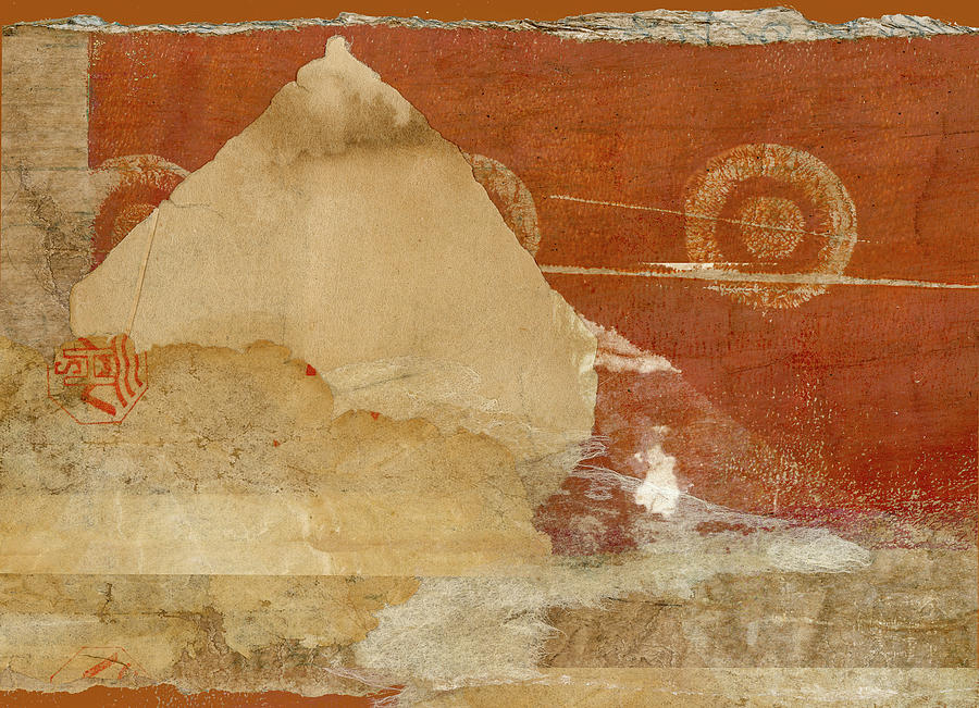 Collage Mixed Media - Burnt Orange Collage by Carol Leigh