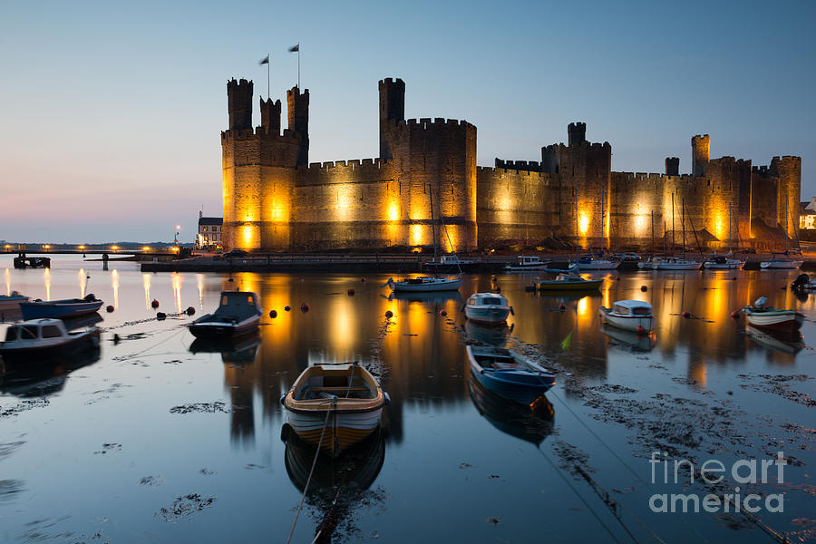 Tide Photograph - Caernarfon Castle , North Wales by Stocker1970