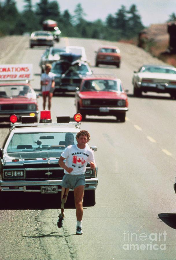 Cancer Victim Terry Fox Running Photograph by Bettmann