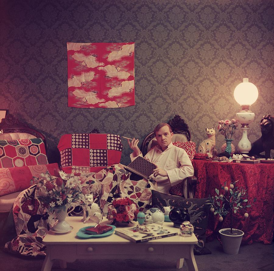 Capote At Home Photograph by Slim Aarons