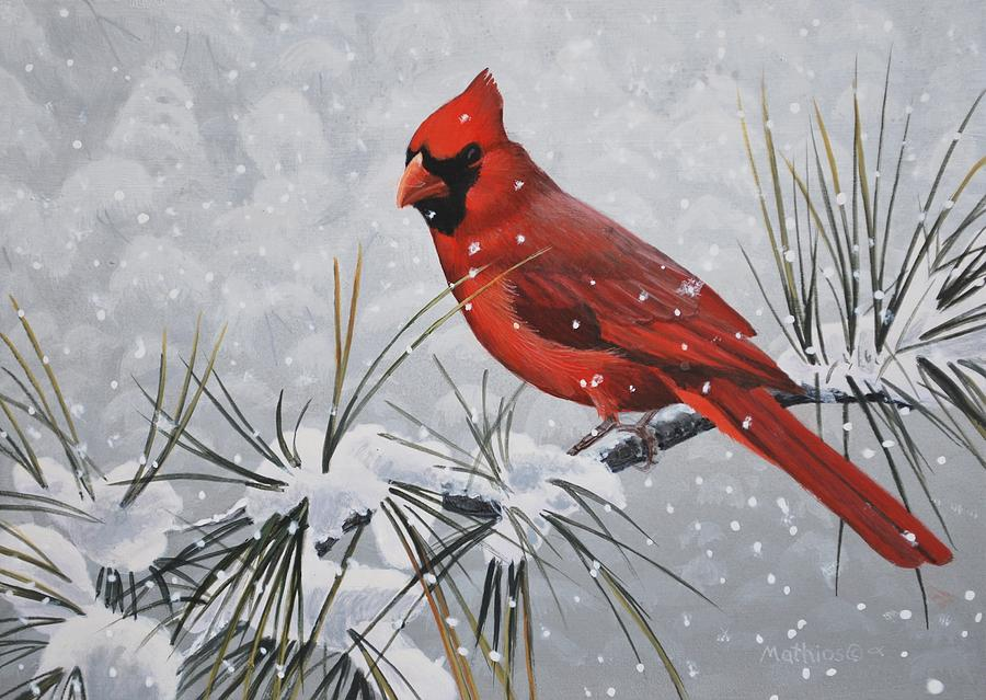 Cardinal In The Snow Painting By Peter Mathios