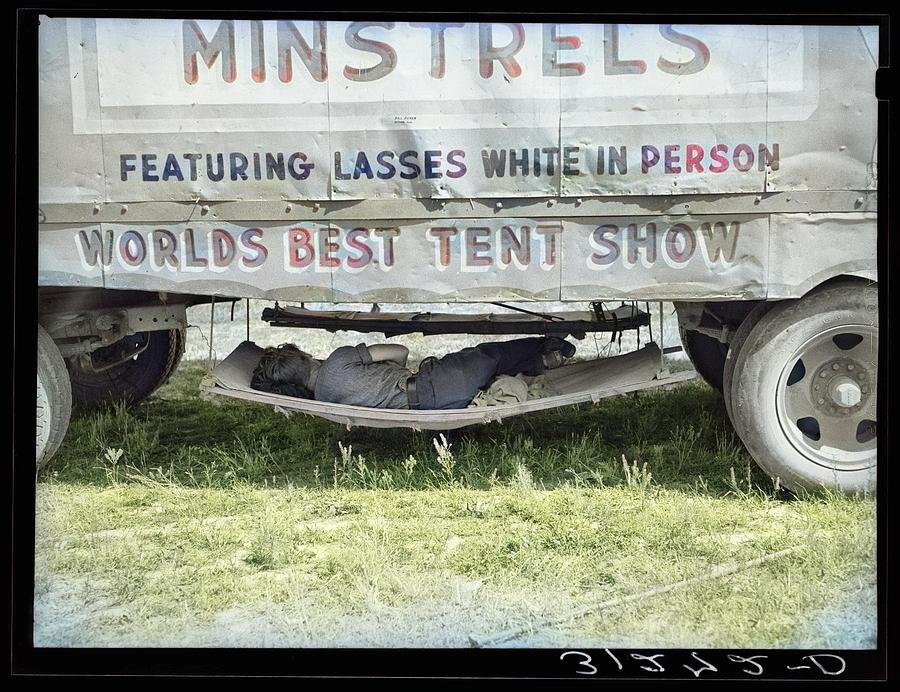Carnival Employee Sleeping In Hammock Underneath Wagon. Lasses-white Traveling Show. Sikeston, Misso Painting