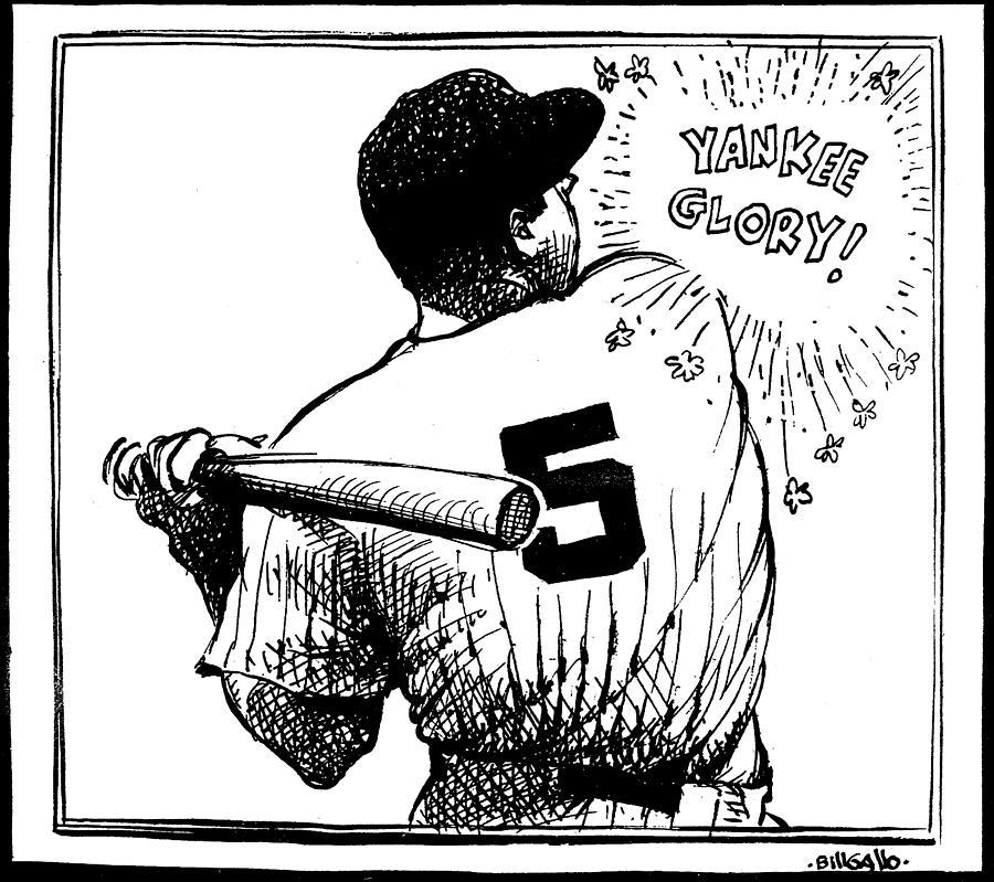 Cartoon New York Yankees Joe Dimaggio 1 Photograph by New York Daily News Archive