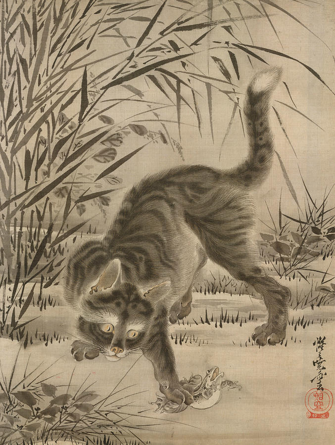 Japanese Painter Painting - Cat Catching A Frog by Kawanabe Kyosai