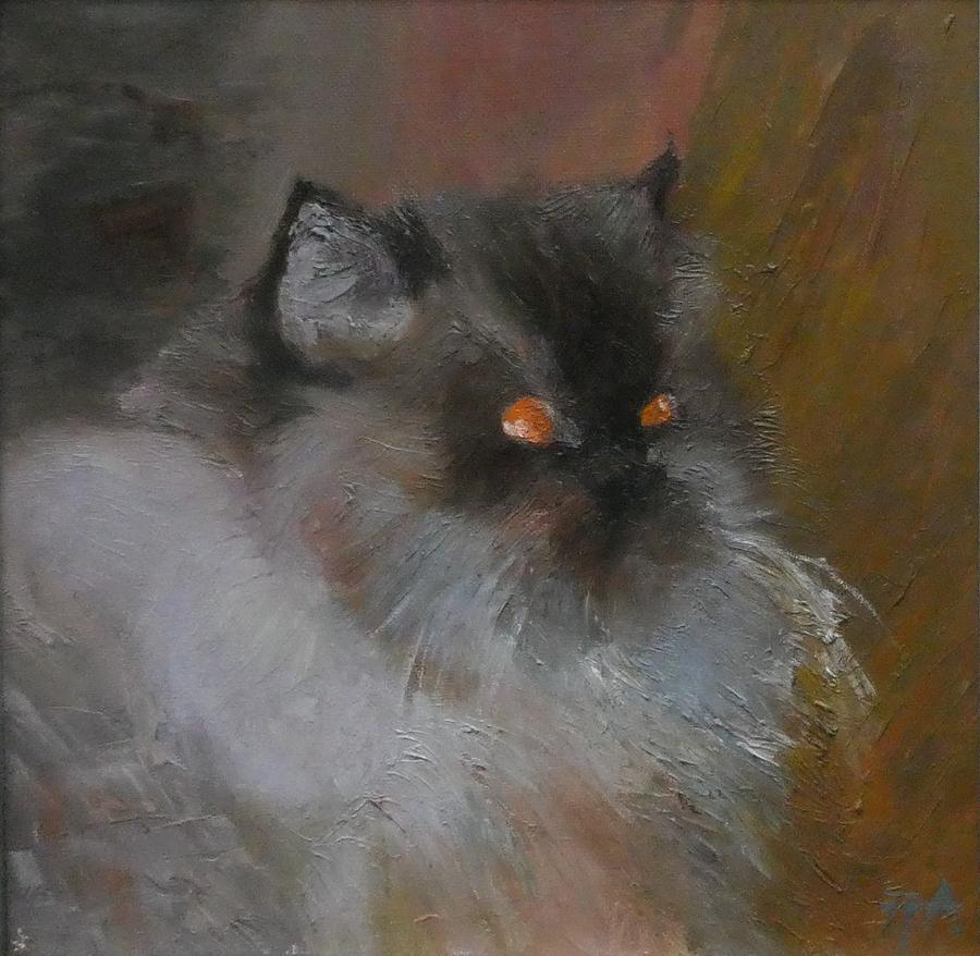 Animal Painting - Cat With Orange Eyes by Irena Jablonski