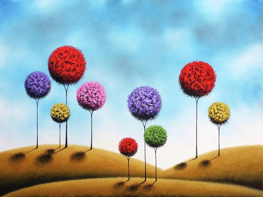 Abstract Trees Painting - Catching Dreams by Rachel Bingaman