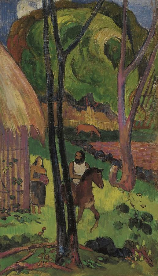 Cavalier Devant La Case  by Paul Gauguin