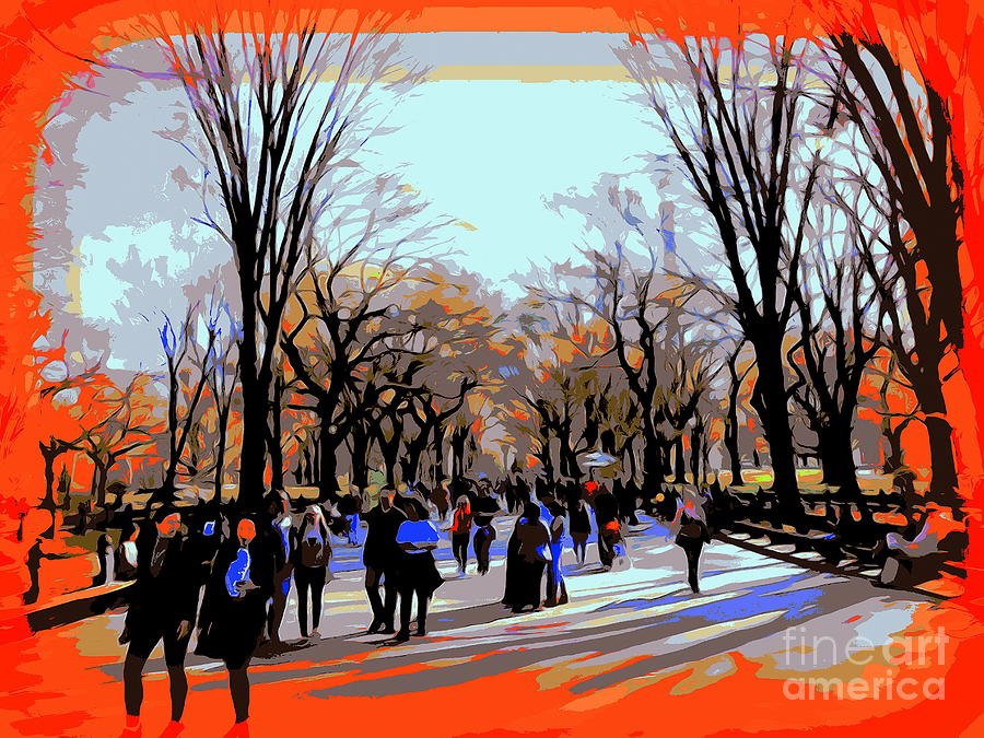Psychedelic Digital Art - Central Park Mall by Ed Weidman