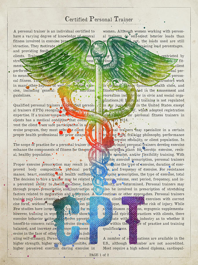 Cpt Digital Art - Certified Personal Trainer Gift Idea With Caduceus Illustration  by Aged Pixel