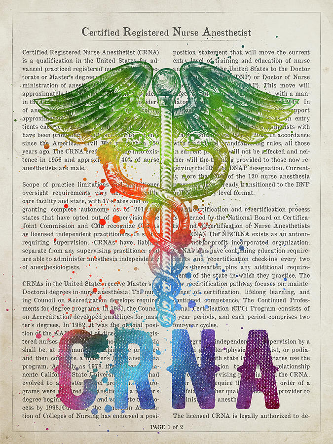 Crna Digital Art - Certified Registered Nurse Anesthetist Gift Idea With Caduceus I by Aged Pixel