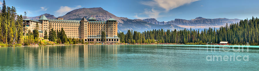 Chateau Lake Louise Reflection Panorama by Adam Jewell
