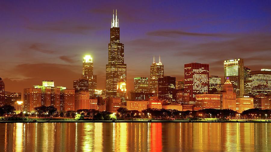 Chicago Skyline At Night by Thomas Kurmeier