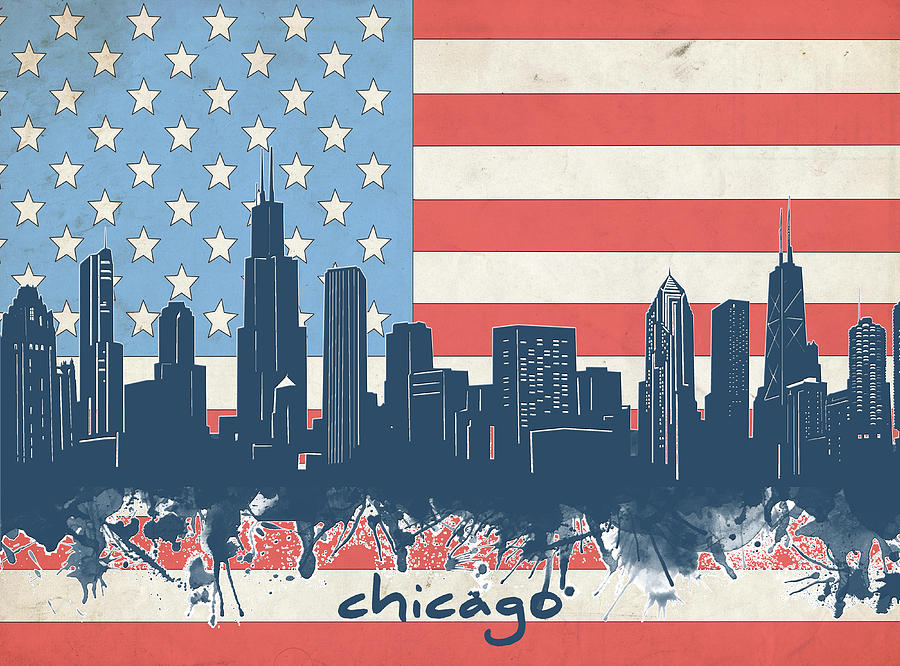 Chicago Skyline Flag Digital Art