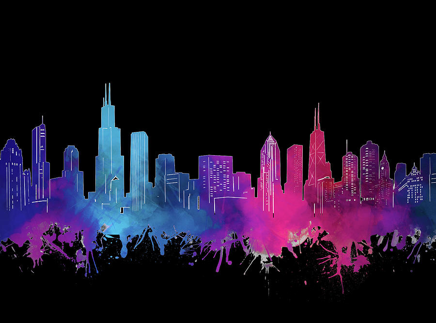 Chicago Skyline Watercolor 3 Digital Art