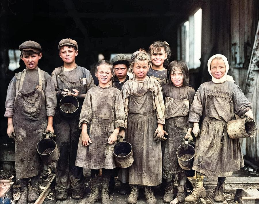 Child Labor Photo Young Children Factory Workers Industrial Revolution 1890 2 Colorized By Ahmet Asa Painting