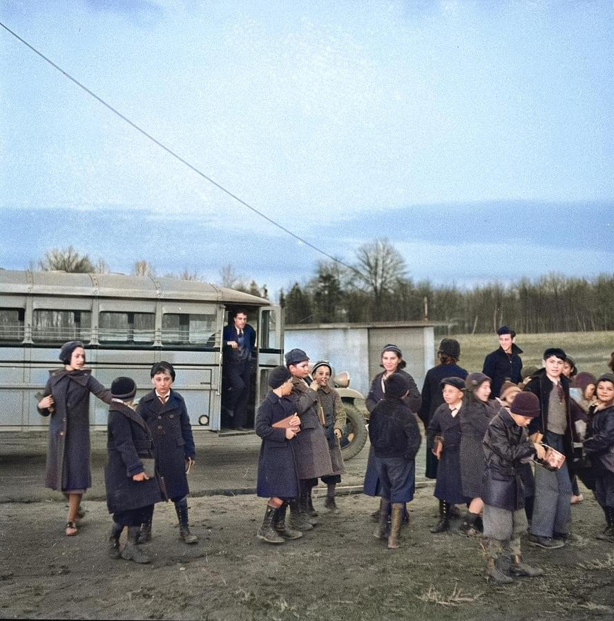 Children Coming Home From School. Hightstown, New Jersey 1936 Colorized By Ahmet Asar Painting